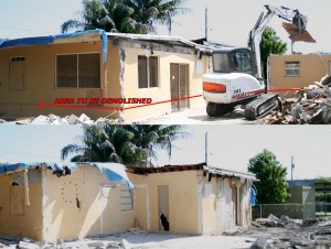 Before & after photo of illegal home addition demolition built without permits